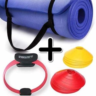 Kit Fitness Mat Yoga Pilates + Flex Ring + Cono Tortuga X 12
