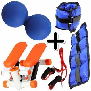 Kit Fitness Mini Stepper + Pesa Tobillera 1 Kg + Pelota Mani