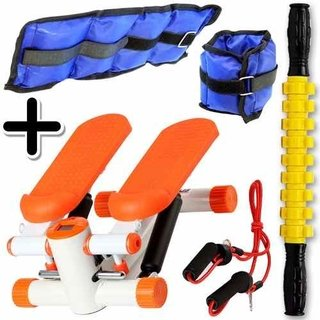 Kit Fitness Mini Stepper + Tobillera 1kg + Rodillo Stick