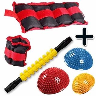 Kit Fitness Pesa Tobillera 3 Kg + Rodillo + 3 Mini Bosu