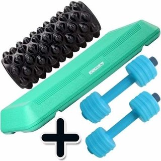 Kit Step Fitness Plataforma + Rolo Rodillo Yoga + Mancuernas