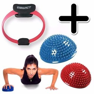 Kit Fitness Anillo Flex Pilates Aro + 2 Mini Bosu Balance