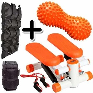 Kit Fitness Mini Stepper + Pesa Tobillera 5 Kg + Mani Picos