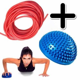 Kit Fitness Banda Elastica Tubular 2 Mts + Mini Bosu Balance
