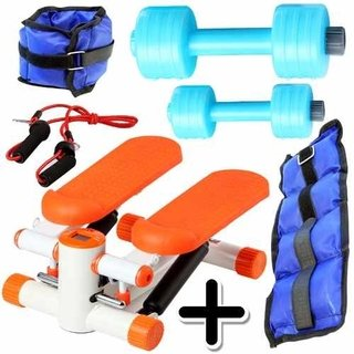 Kit Fitness Mini Stepper + Pesa Tobillera 1kg + 2 Mancuernas