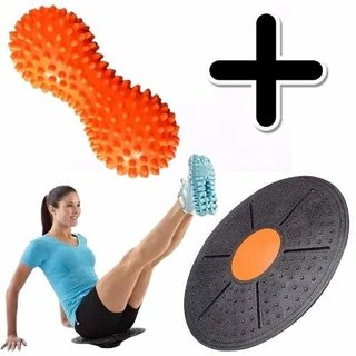 Kit Fitness Pelota Mani Pinches Masaje + Tabla Equilibrio