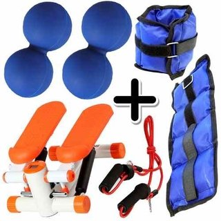 Kit Fitness Mini Stepper + Pesa Tobillera 1 Kg + 2 Mani Azul