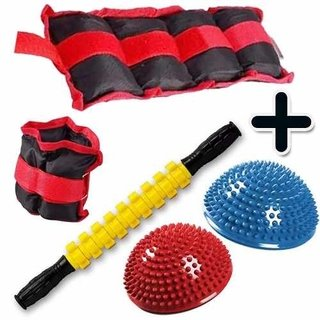 Kit Fitness Pesa Tobillera 3 Kg + Rodillo + 2 Mini Bosu