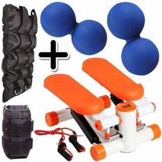 Kit Fitness Mini Stepper + Pesa Tobillera 5 Kg + 2 Mani Azul