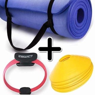 Kit Fitness Mat Yoga Pilates + Flex Ring + Cono Tortuga X 6
