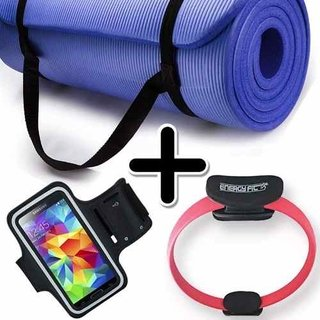 Kit Fitness Mat Yoga Pilates + Flex Ring + Brazalete Celular