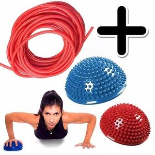 Kit Fitness Rollo 10mts Banda Elastica + 2 Mini Bosu Balance