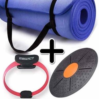 Kit Fitness Mat Yoga Pilates + Flex Ring + Tabla Equilibrio