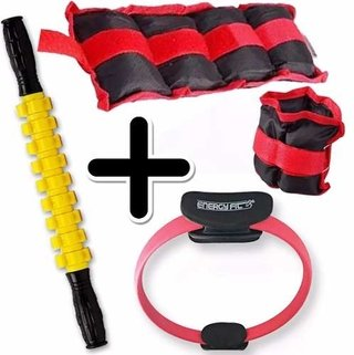 Kit Fitness Pesa Tobillera 3 Kg + Flex Ring + Rodillo Masaje