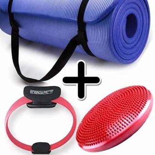 Kit Fitness Mat Yoga Pilates + Flex Ring + Disco Equilibrio