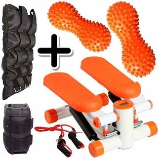 Kit Fitness Mini Stepper + Pesa Tobillera 5kg + 2 Mani Picos
