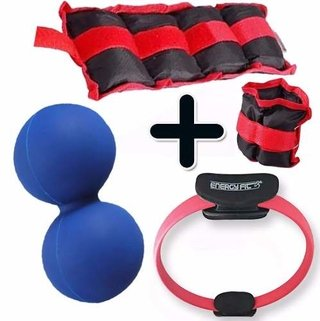 Kit Fitness Pesa Tobillera 3 Kg + Flex Ring + Pelota Mani