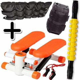 Kit Fitness Mini Stepper + Tobillera 5 Kg + Rodillo Masaje