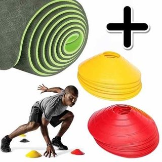 Kit Fitness Premium Mat Yoga Eco Pilates + Cono Tortuga X 12