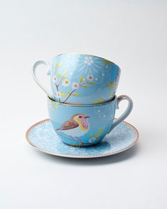 Taza de Te y Plato Porcelana Blue Floral Collection I 280 ml I - Pick a Plate