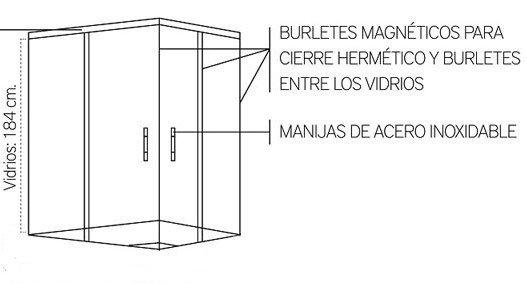 Medidas De Duchas Rectangulares.Box Ducha Cabina 100x80 Esmerilado Sin Receptaculo