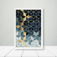 Quadro New Geometric Blue Gold - comprar online