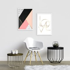 Kit de quadros Geometrico Love Gold
