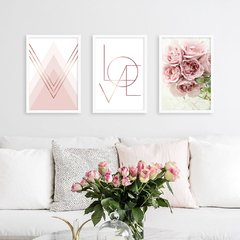 Kit de quadros Geometrico Love Floral