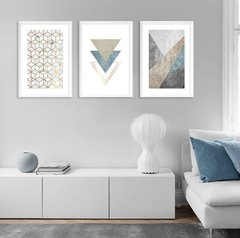 Kit de quadros Modern Triangle Blue - comprar online