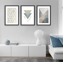 Imagem do Kit de quadros Modern Triangle Blue