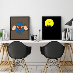 Kit de quadros Batman x Super man - Quadros decorativos | Pirilampo Decor