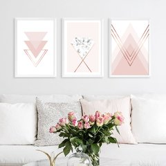 Kit de quadros Geometric Classic Rose
