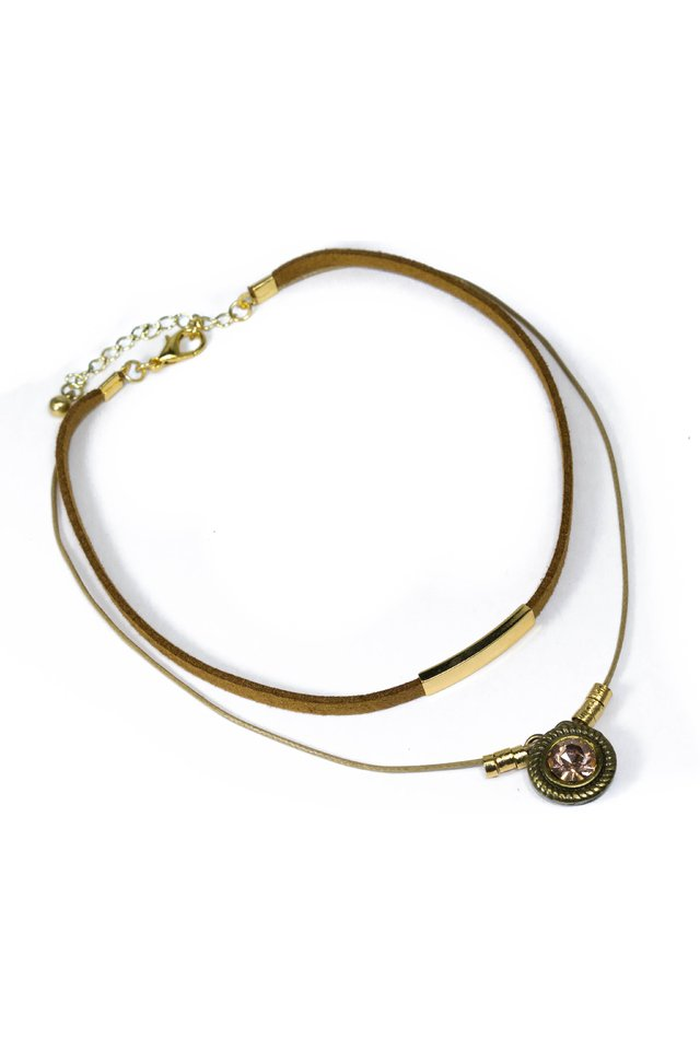 Colar Chocker Adele Strass Rosê Ouro