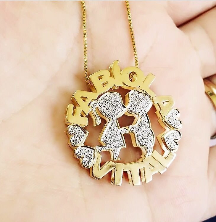 Mandala Dupla personalizada Casal - 2 nomes banhada em ouro 18k 9f3f0cbff8