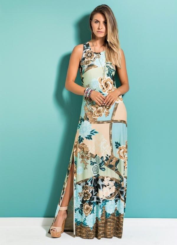 3116cd115 Vestido Longo Mix Floral Quintess 2250634 - comprar online ...