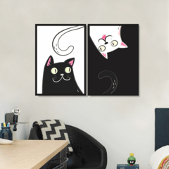 Conjunto Quadro Decorativo Gato e Gata Love na internet