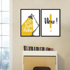 "Conjunto Quadro Decorativo Amarelo, Frase "" Let Shine Now """