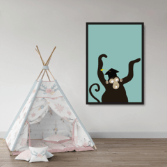 Quadro Decorativo Infantil Cartoon, Macaco