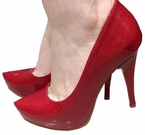137b5f2b8 Sapato Feminino Scarpin Vermelho Bico Fino Envernizado 605