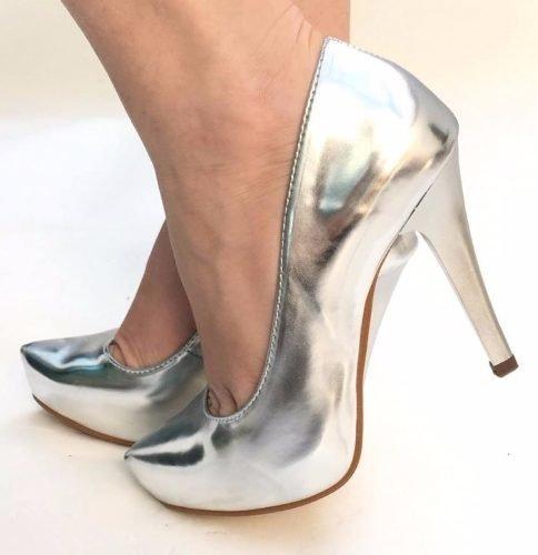 4922c50ad Sapato Fechado Meia Pata Metalizado Prata Prateada 2176