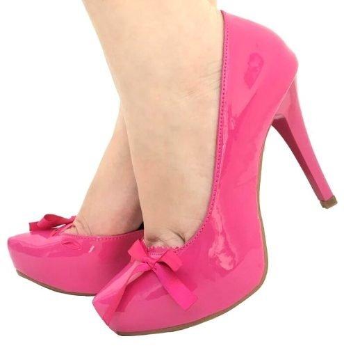 153e937d84 Scarpin Meia Pata Rosa Pink Laço Salto Alto Fino Verniz 1396