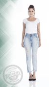 Calça Jeans Feminina cigarret cós alto slim Destroyed ref. 4654
