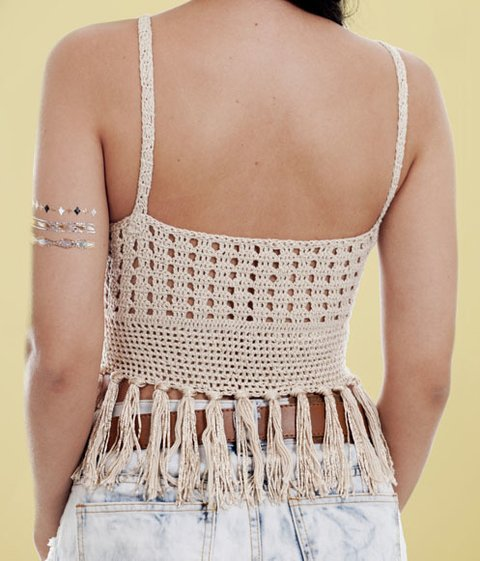 Top Cropped Crochê | Cropped Anne Bege - comprar online