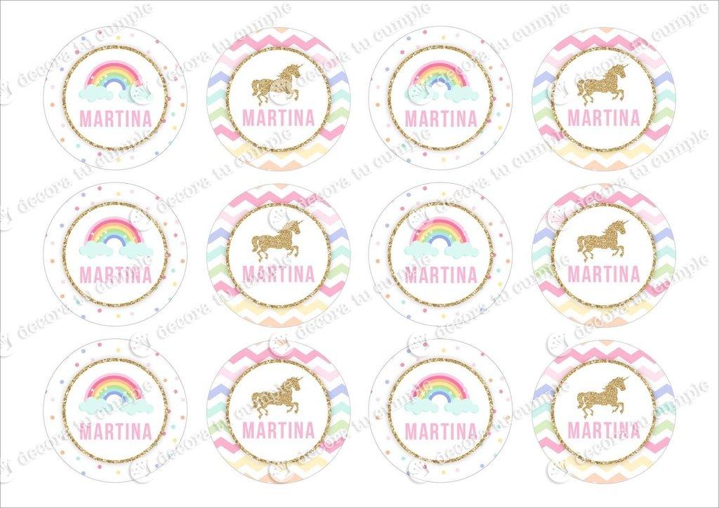 Kit imprimible Unicornio arcoiris con glitter