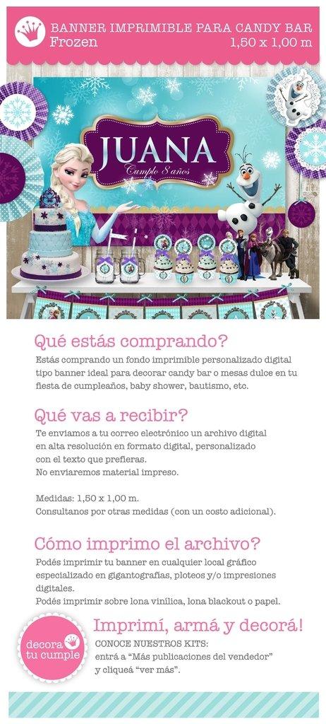 Banner Imprimible Personalizado Para Candybar Frozen Anna Elsa Olaf