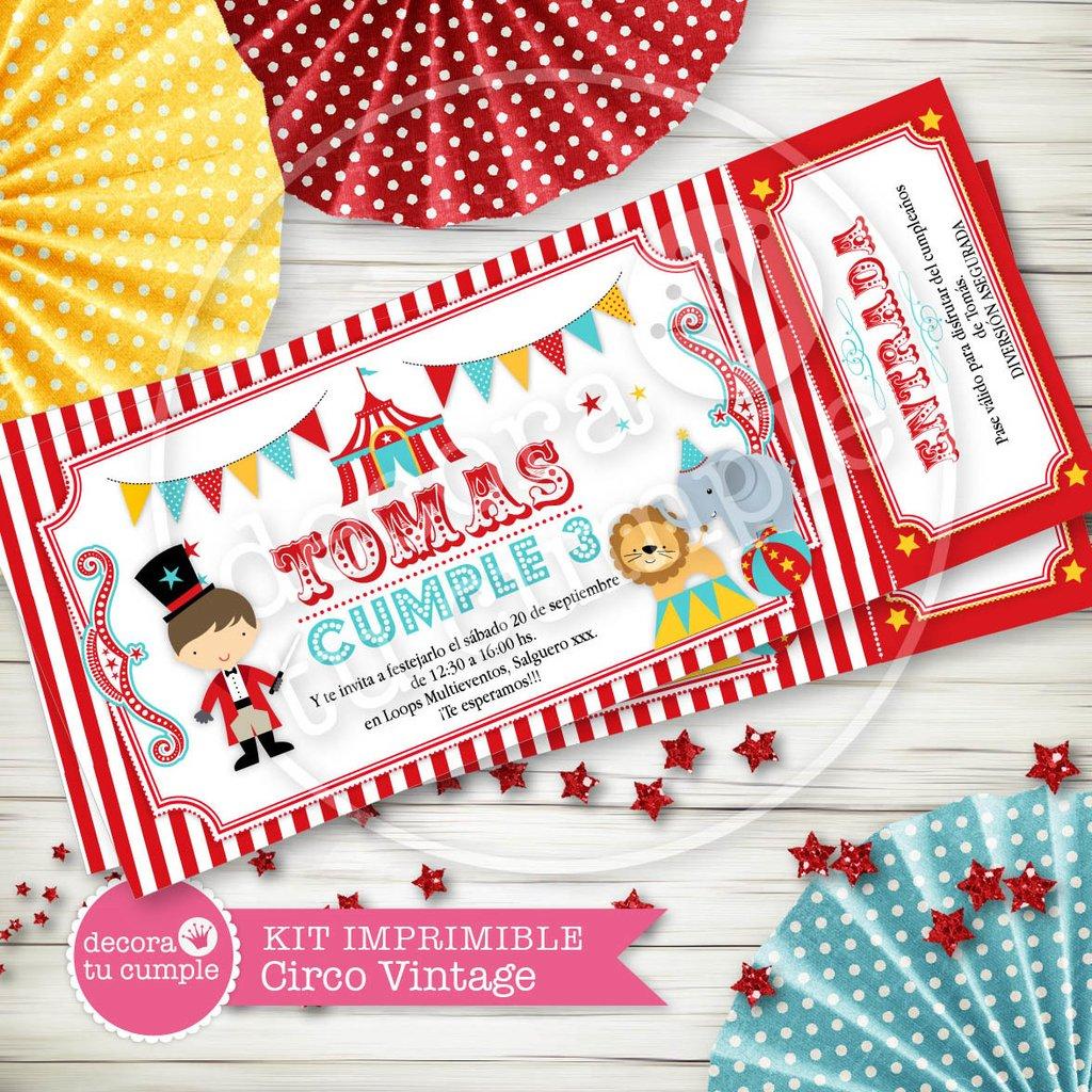 Kit Imprimible Personalizado Circo Vintage