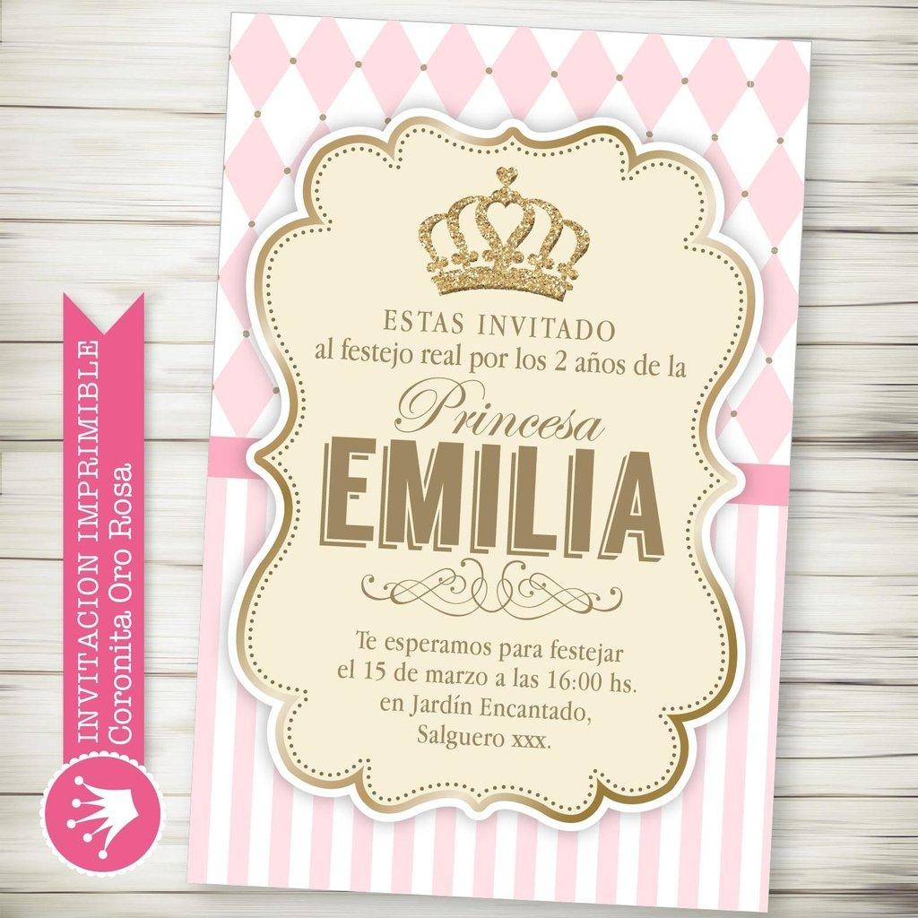 Kit Imprimible Corona Princesa Rosa - decora tu cumple
