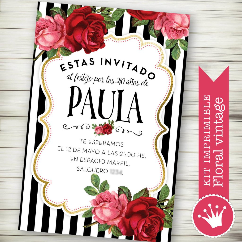 Kit Imprimible Globo Aerostático Rosa Flores Shabby Colores Pastel