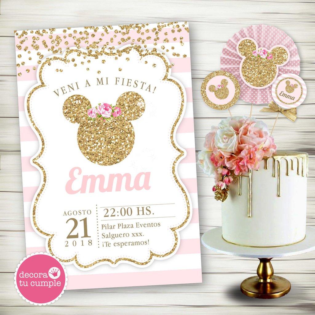 Kit Imprimible Personalizado Minnie Rosa Y Dorado Glitter