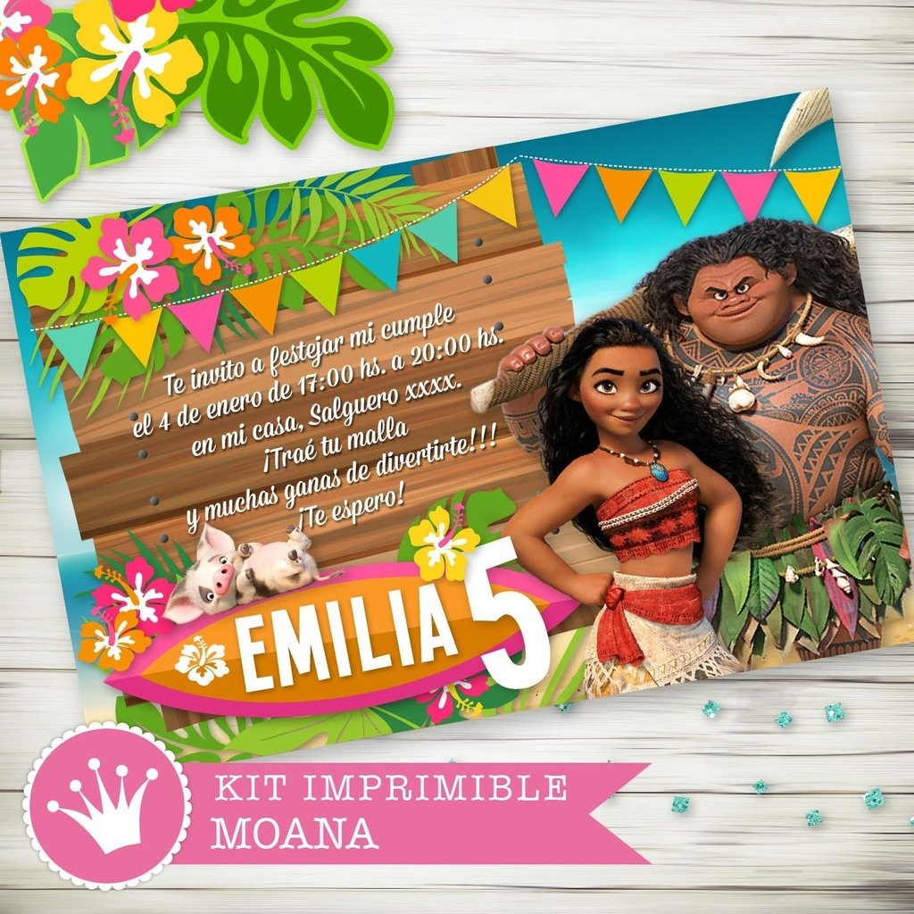 Kit Imprimible Moana Disney - decora tu cumple